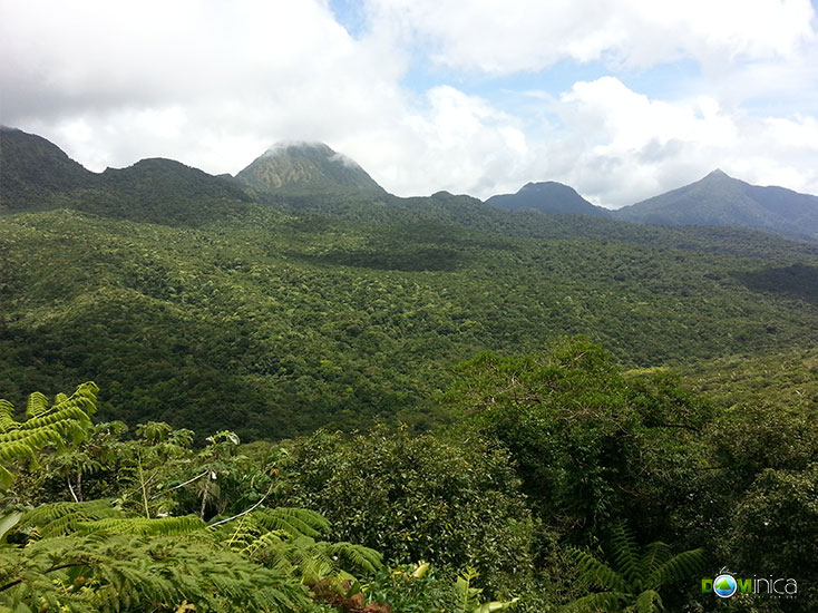 In Morne Trois Pitons National Park looking across at Morne Watt, Morne Nichols and Morne Anglais